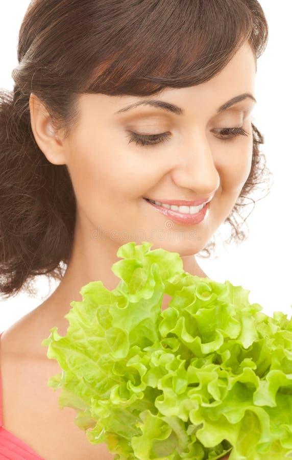 Женщина с салатом стоковое фото rf