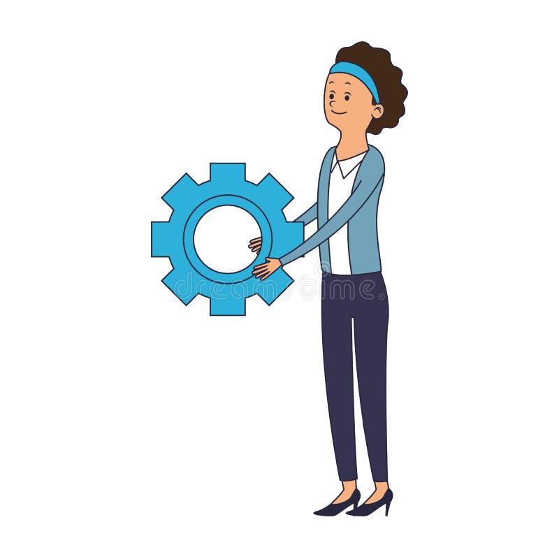 Женщина с символом шестерни иллюстрация штока