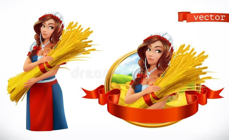 Женщина с снопом пшеницы вектор иконы 3d бесплатная иллюстрация
