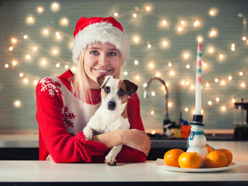Женщина с собакой на шляпе рождества стоковая фотография rf