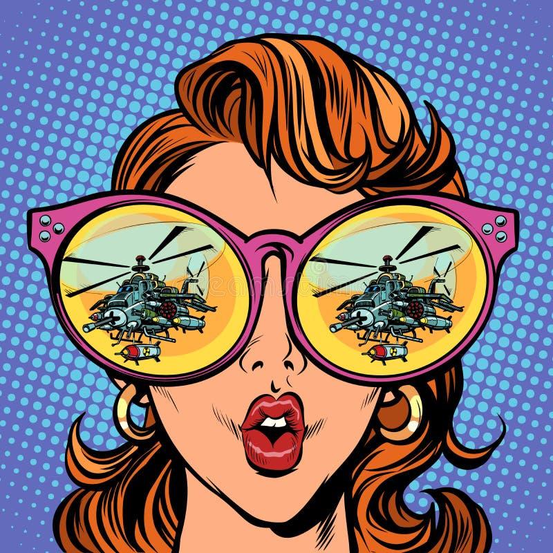 Женщина с солнечными очками воинский вертолет в отражении бесплатная иллюстрация