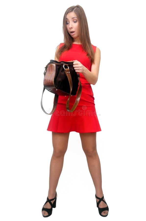 Женщина с сумкой портмона стоковые изображения