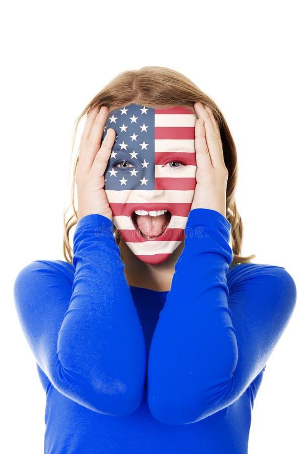 Женщина с США сигнализирует на стороне стоковые изображения