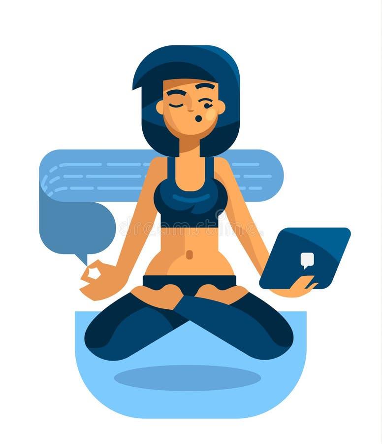 Женщина с таблеткой приниманнсяая за йога и читает сообщения бесплатная иллюстрация
