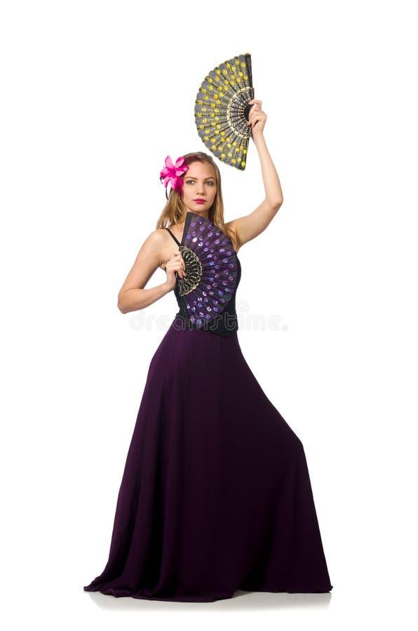 Женщина с танцами танцев вентилятора изолированная на белизне стоковые изображения