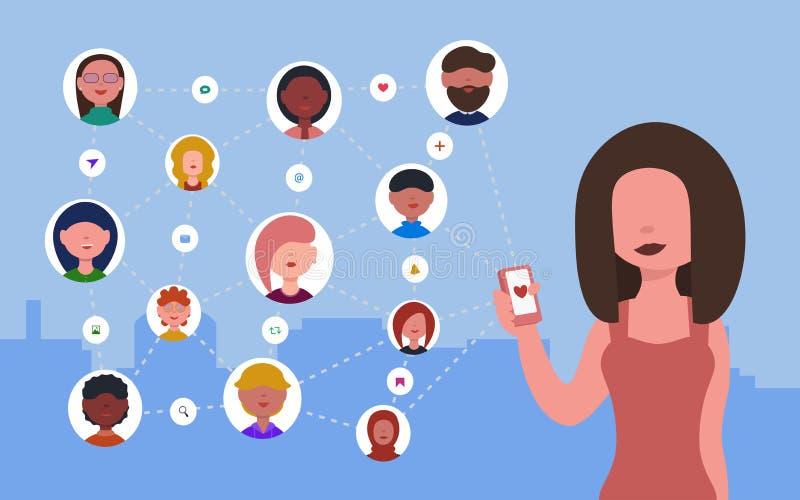 Женщина с телефоном в ее руках использует социальную сеть иллюстрация вектора