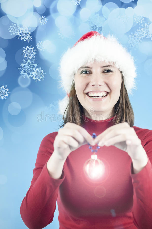 Женщина с украшением рождества стоковая фотография