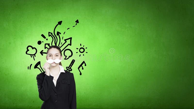 Женщина с усиком стоковая фотография rf