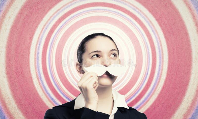 Женщина с усиком стоковое изображение rf