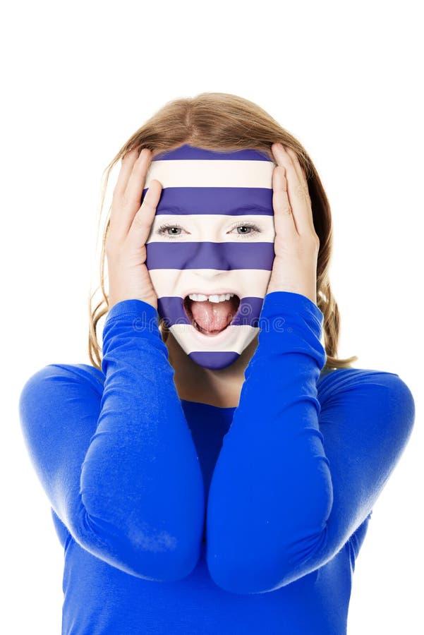 Женщина с флагом Греции на стороне стоковая фотография rf
