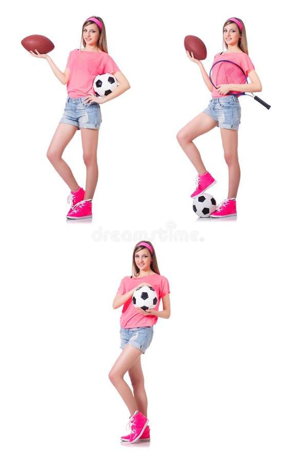Женщина с футболом на белизне стоковые фотографии rf