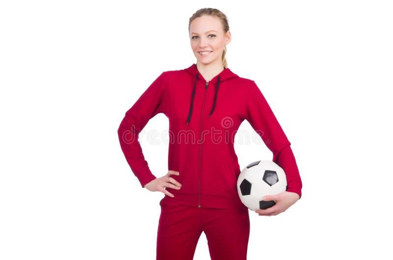 Женщина с футболом стоковое фото rf