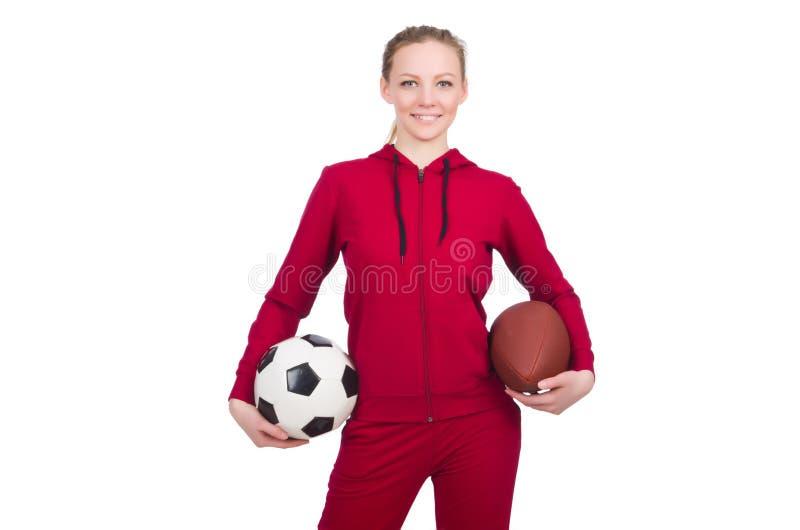 Женщина с футболом стоковая фотография