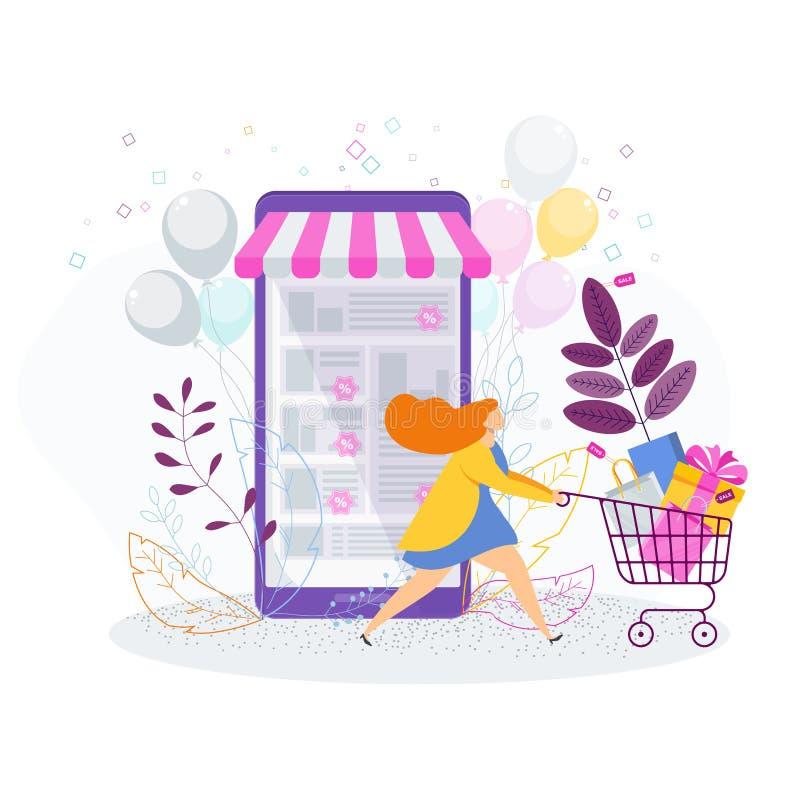 Женщина с ходя по магазинам вагонеткой, сумками и подарками иллюстрация вектора
