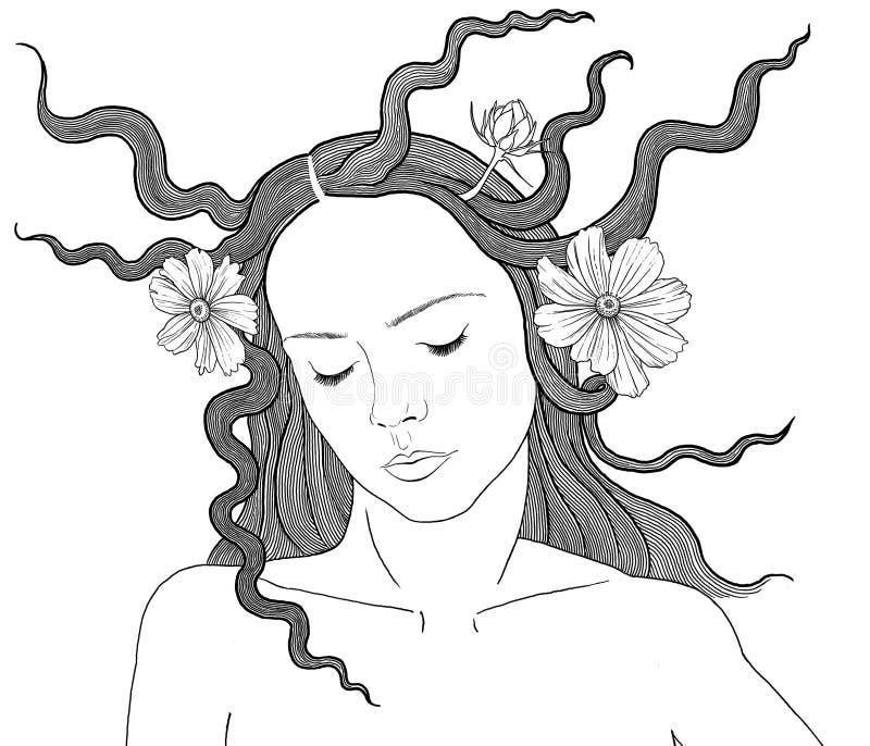 Женщина с цветками в ее волосах иллюстрация вектора