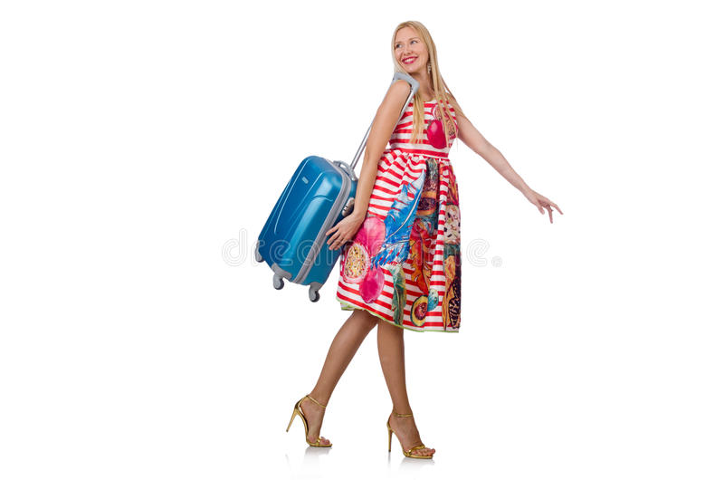Женщина с чемоданом готовым стоковое фото rf