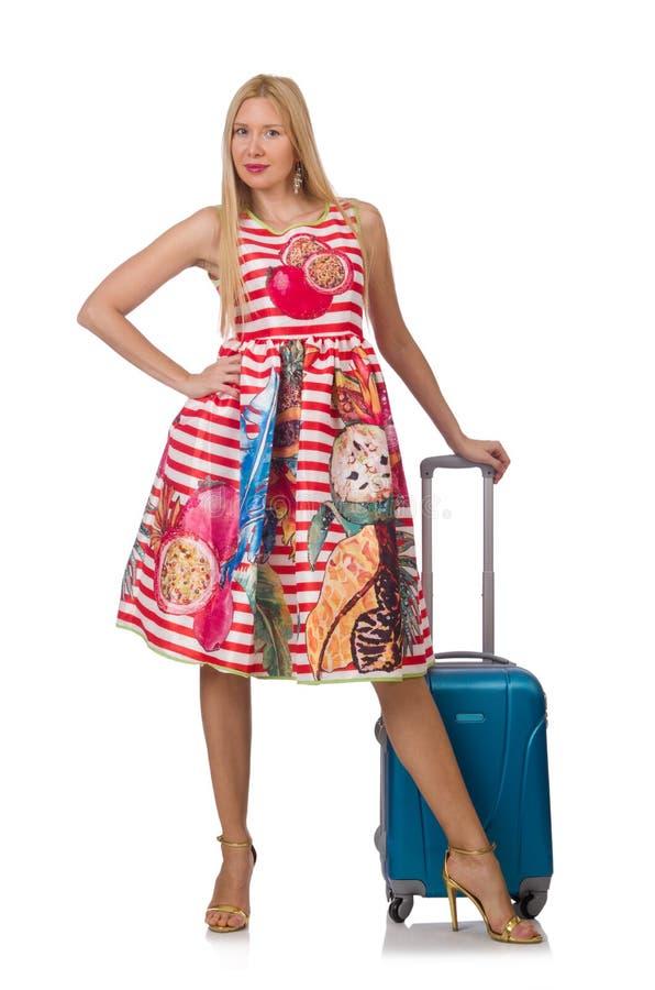 Женщина с чемоданом готовым стоковое фото