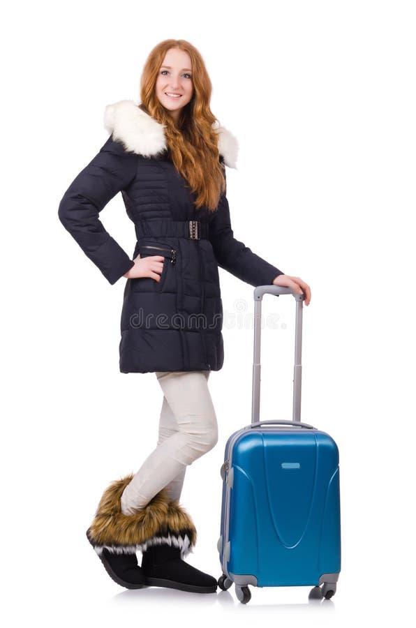 Женщина с чемоданом стоковое изображение