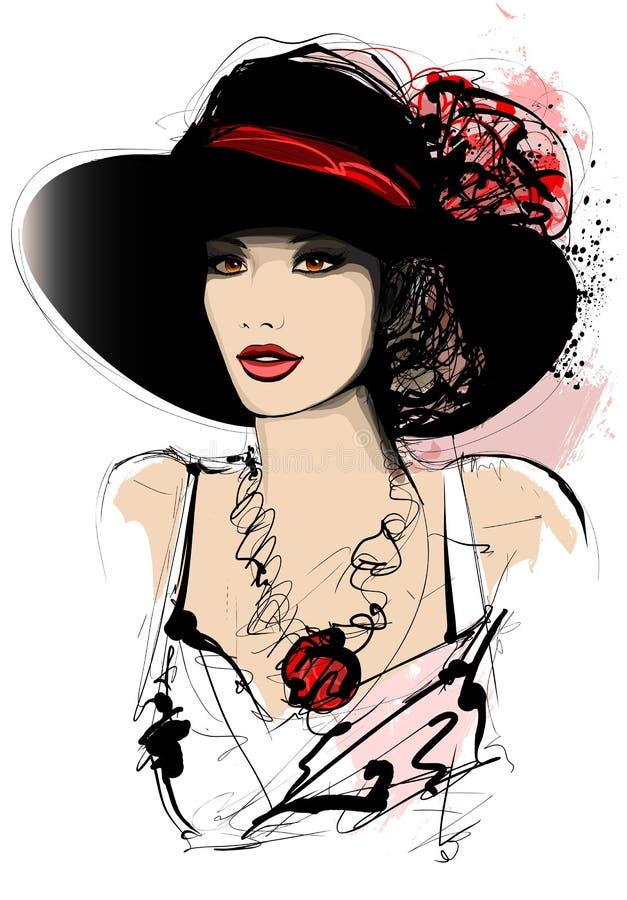 Женщина с шляпой на белой предпосылке иллюстрация штока