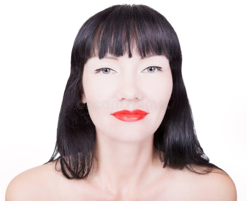 Женщина с яркими красными губами стоковое изображение