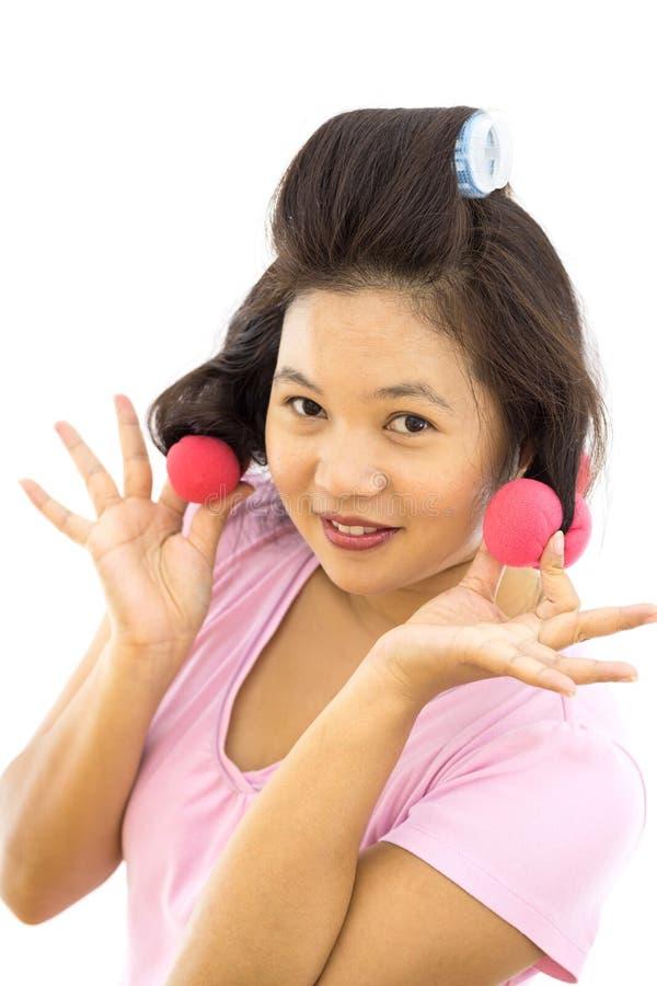 Женщина с curlers волос стоковое изображение rf