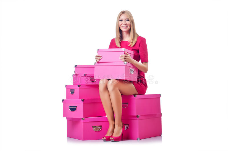 Женщина с giftboxes стоковые изображения rf
