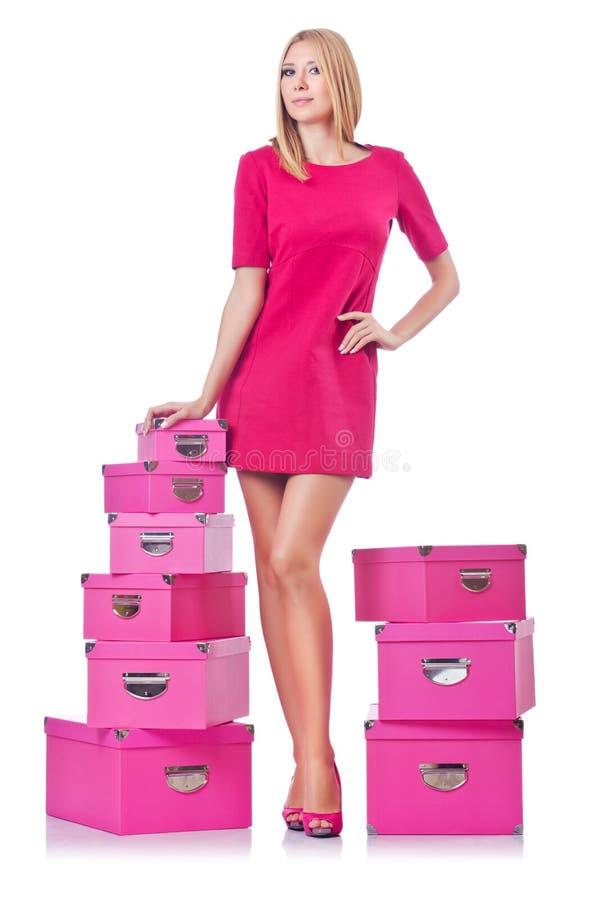 Женщина с giftboxes стоковые фотографии rf
