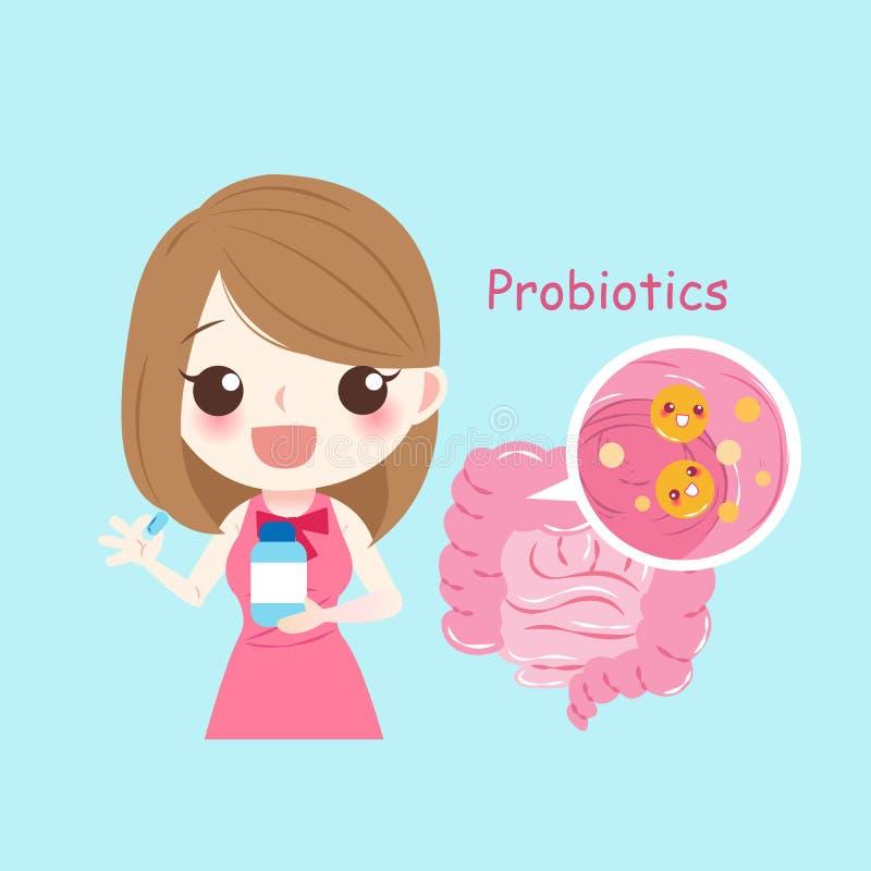 Женщина с probiotics бесплатная иллюстрация