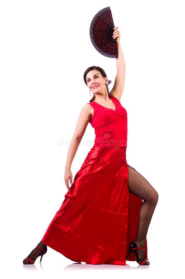 Женщина танцуя традиционные испанские языки танцует изолированный на белизне стоковые фотографии rf