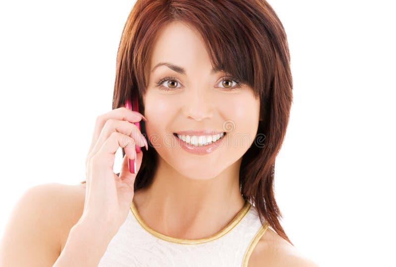 женщина телефона клетки счастливая стоковая фотография rf