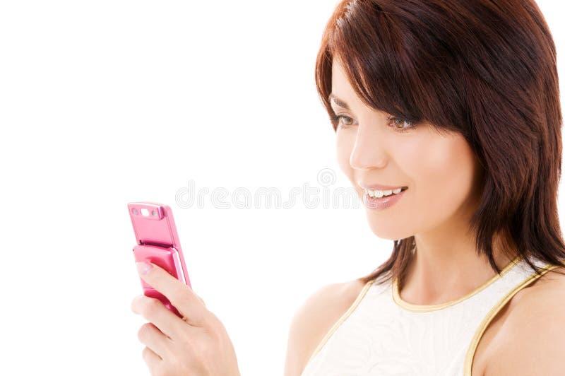 женщина телефона клетки счастливая стоковые фото