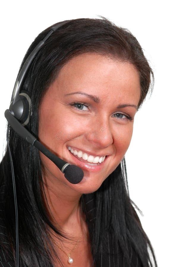 женщина телефона шлемофона стоковые изображения rf