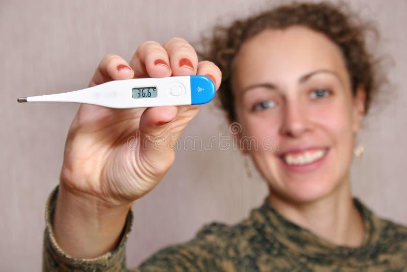 женщина термометра стоковые изображения