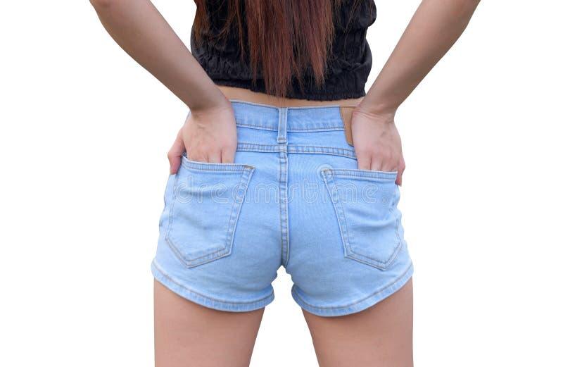 Женщина тела в голубых джинсах стоковое изображение