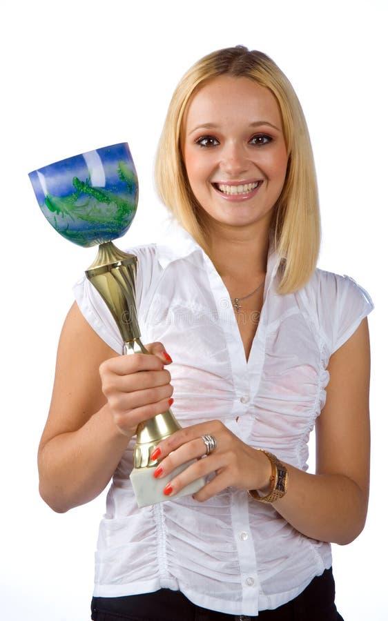 женщина трофея удерживания стоковые изображения
