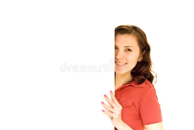 женщина удерживания афиши стоковые фото