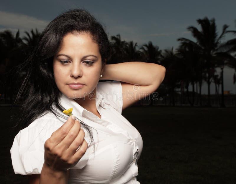 женщина удерживания маргаритки стоковое фото rf