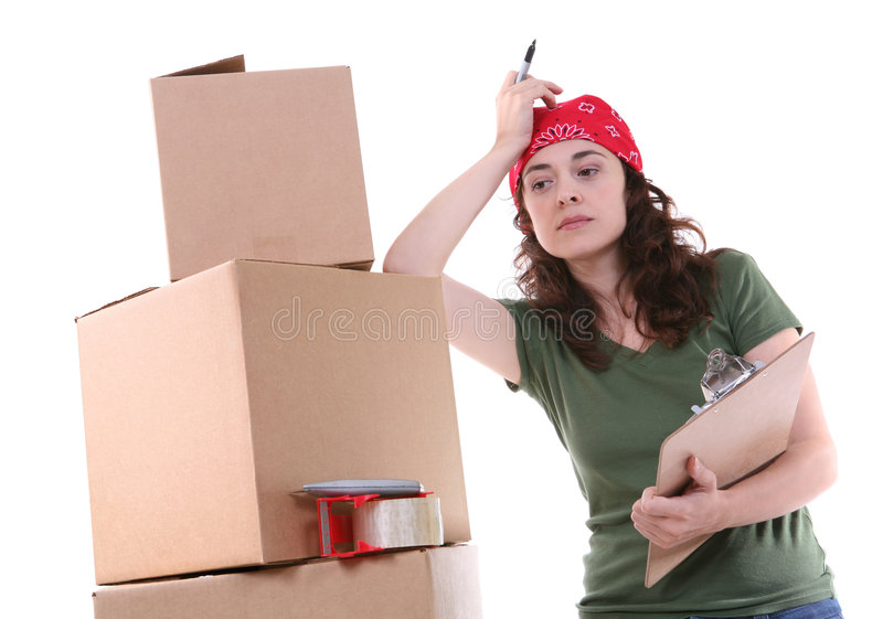 женщина упаковки стоковое изображение rf