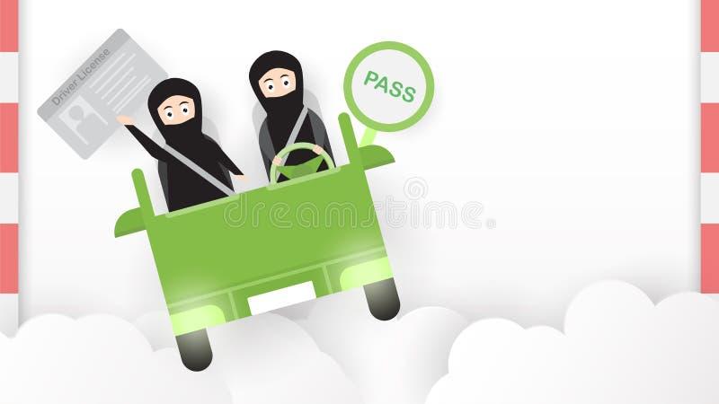 Женщина управляет зеленым автомобилем в Саудовской Аравии на облаке Арабское adul бесплатная иллюстрация