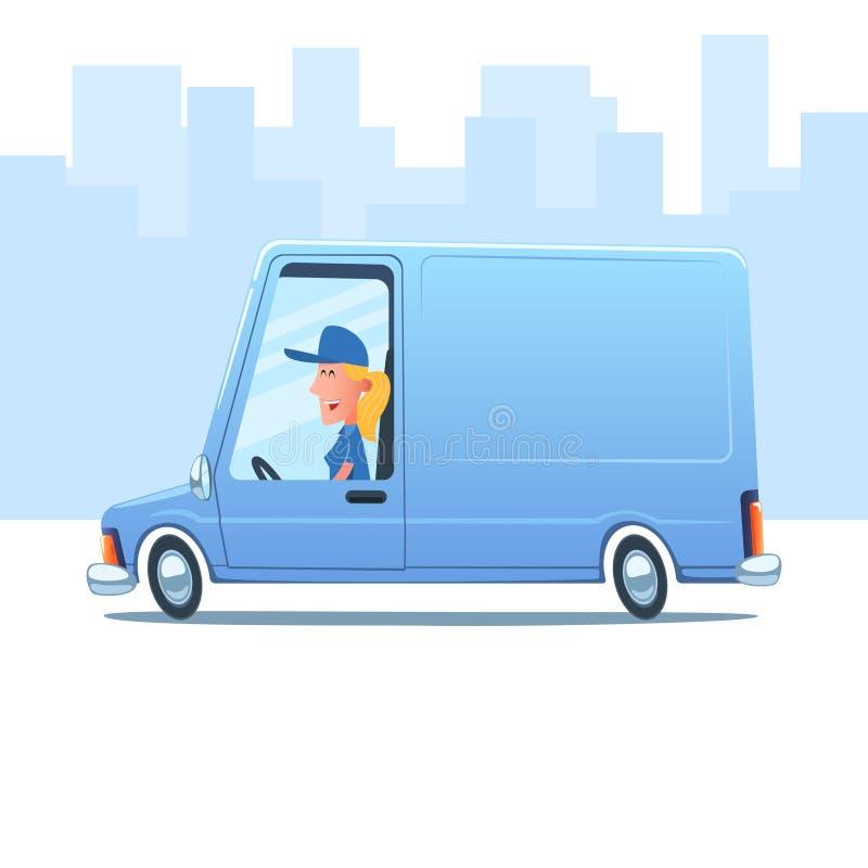 Женщина управляя фургоном обслуживания иллюстрация вектора
