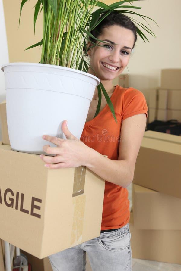 Женщина устанавливая дома стоковое изображение