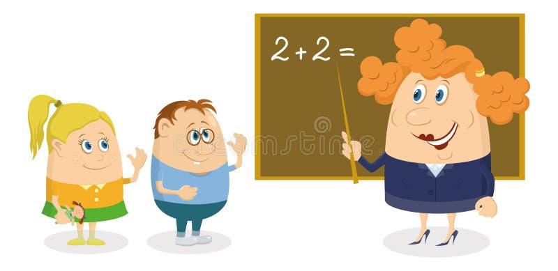 Женщина учителя с детьми бесплатная иллюстрация