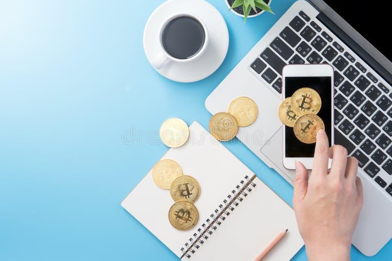 Женщина учитывающ концепция денег изолируется на столе чистого голубого офиса работая с bitcoin и кофейной чашкой, дизайном места стоковое изображение