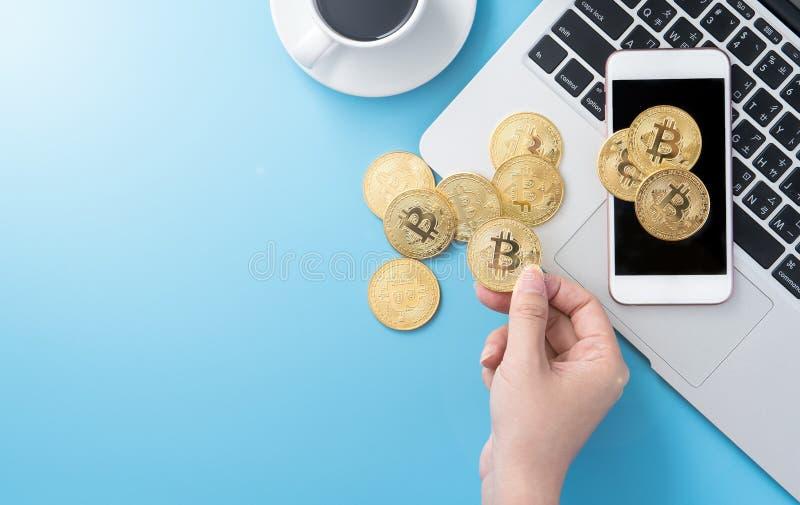 Женщина учитывающ концепция денег изолируется на столе чистого голубого офиса работая с bitcoin и кофейной чашкой, дизайном места стоковые фотографии rf