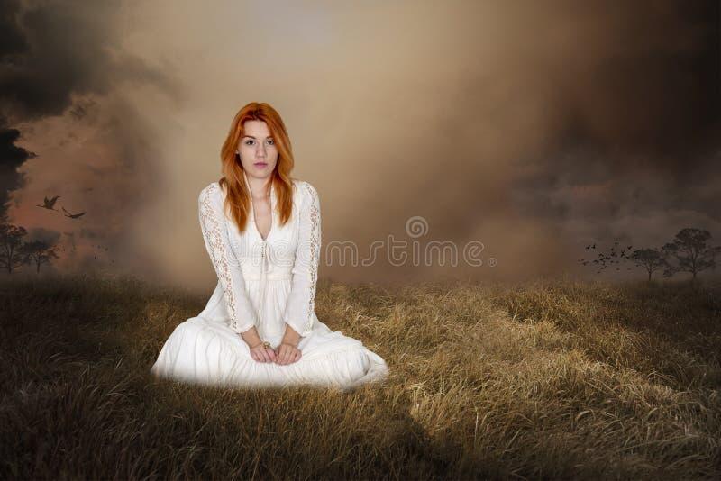 Женщина фантазии, Imagaination, мир, надежда, любовь стоковое фото rf