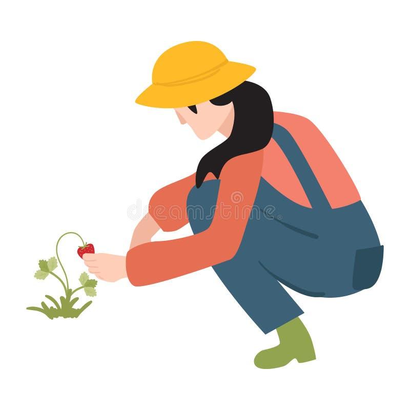 Женщина фермера вектора плоская в профессиональной форме иллюстрация штока
