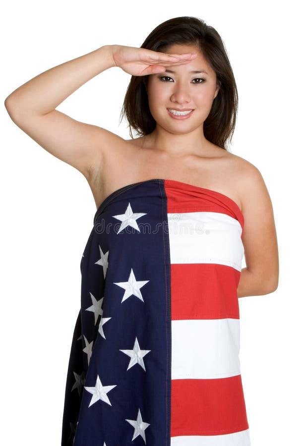 женщина флага салютуя стоковые изображения rf