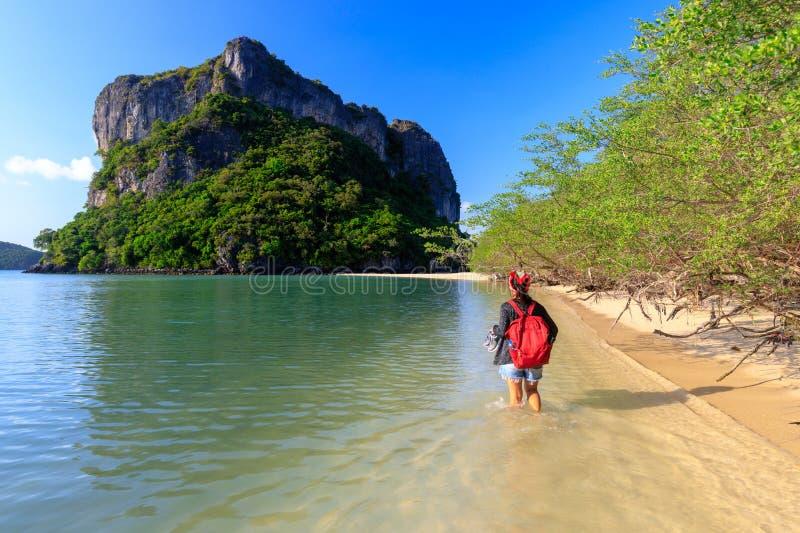 Женщина ходит по тропическому пляжу стоковое фото