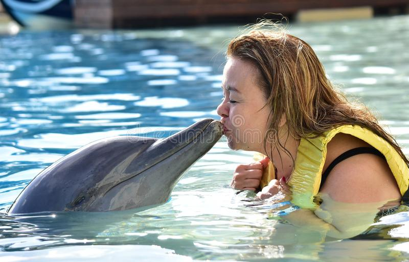 Женщина целуя дельфина в бассейне стоковые фото