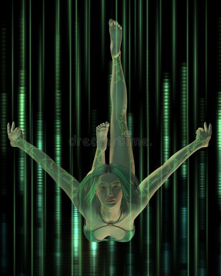 Женщина цифров - подныривание бесплатная иллюстрация
